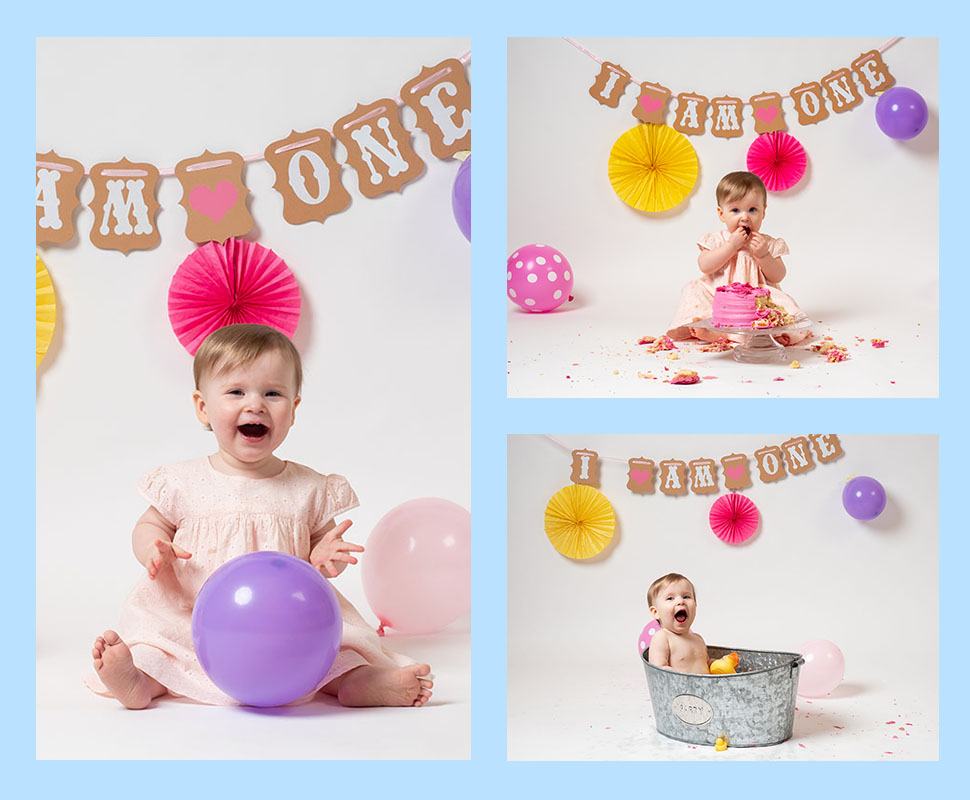 smiling baby posing on beanbag with pretty headband taken by qualified baby photographer in Braintree, Essex